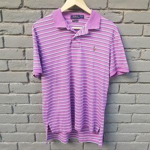 RL Polo Shirt - Striped Purple, White & Black - M